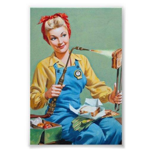 Rosie riveteren gör rostad ost fotokonst