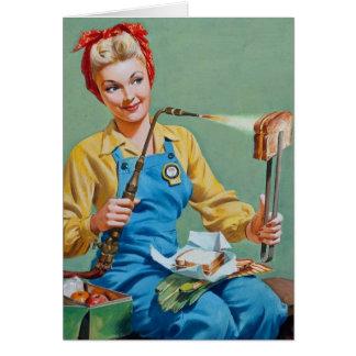 Rosie riveteren gör rostad ost hälsningskort