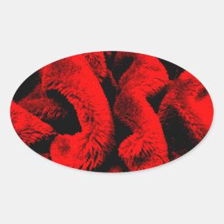 Rosigt tyg ovalt klistermärke