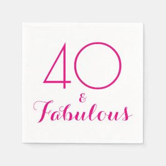 Rosor 40 och sagolika typografipartyservetter servetter