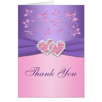 Rosor den purpurfärgade blommigten gick med OBS kort