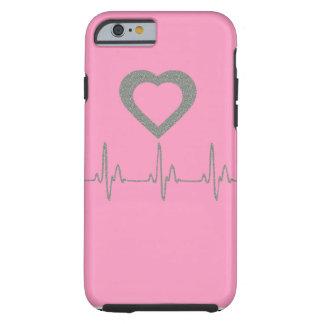 Rosor/det silverglitterhjärta/hjärtslaget/pulserar tough iPhone 6 case