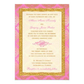 Rosor elfenben, guld- glitter, damastast 12,7 x 17,8 cm inbjudningskort
