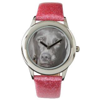 Rosor fäster den Weimaraner klockan Armbandsur