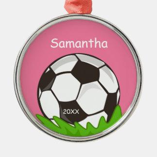 Rosor för boll för ungepersonligfotboll rund silverfärgad julgransprydnad
