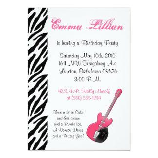 Rosor för coola för inbjudan för gitarrzebra