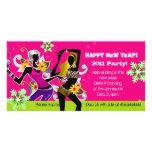 Rosor för dans för kort för nyårsaftonpartyfoto hälsningskort med foto