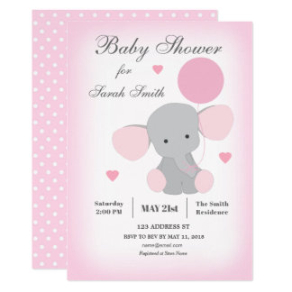 Rosor för elefant för flickababy showerinbjudan 12,7 x 17,8 cm inbjudningskort