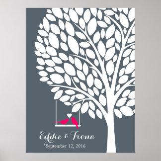 rosor för fågel för träd för bok för poster