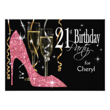 Rosor för födelsedag för glitterstilettchampagne 2 inbjudningskort