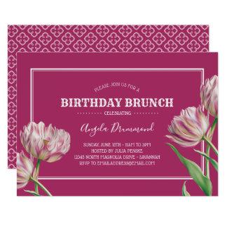 Rosor för frunch för tulpanblommafödelsedag 12,7 x 17,8 cm inbjudningskort