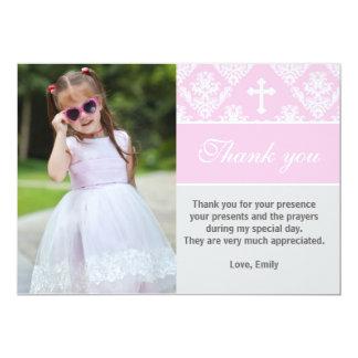 Rosor för kort för foto för doptackkort 12,7 x 17,8 cm inbjudningskort