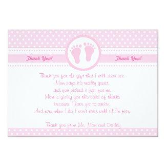 Rosor för kort för tack för fotspårflickababy 12,7 x 17,8 cm inbjudningskort