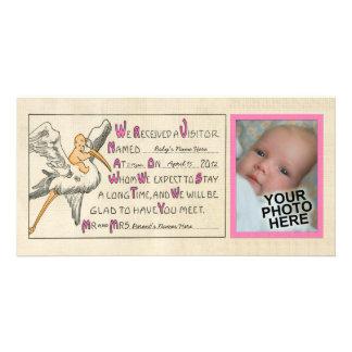 Rosor för meddelande för vintageflicka- & fotokort