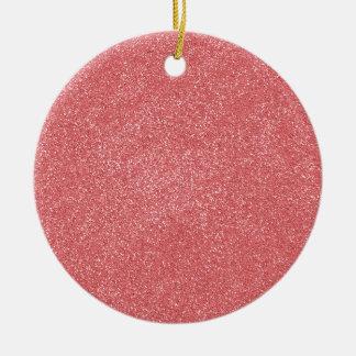 ROSOR för PANTONE-jordgubbeis med fauxglitter Julgransprydnad Keramik