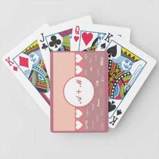 Rosor för personligMonogramhjärtor som leker kort Spelkort