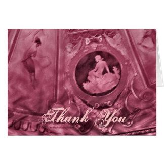 Rosor för tackvintagecameo hälsningskort