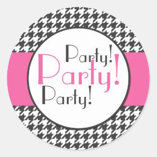 Rosor grått, klistermärke för vitHoundstooth party