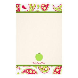 Rosor & grön Paisley Apple lärarebrevpapper Brevpapper