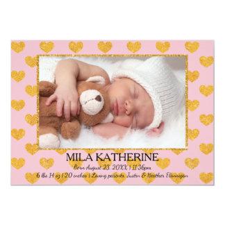 Rosor/guld- meddelande för födelse för 12,7 x 17,8 cm inbjudningskort