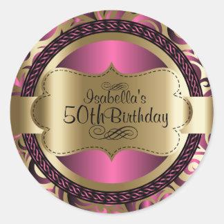 Rosor och abstrakt födelsedag för guld runt klistermärke