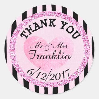 Rosor och B|lack tackar dig bröllopklistermärken Runt Klistermärke