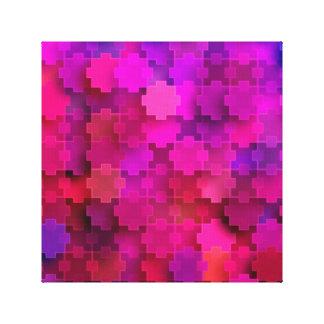 Rosor och blått kvadrerar pusseldelarmönster canvastryck