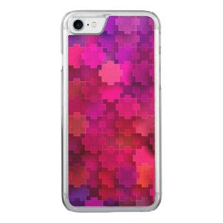 Rosor och blått kvadrerar pusseldelarmönster carved iPhone 7 skal