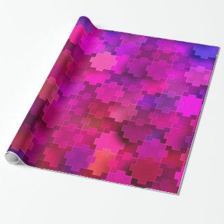 Rosor och blått kvadrerar pusseldelarmönster presentpapper