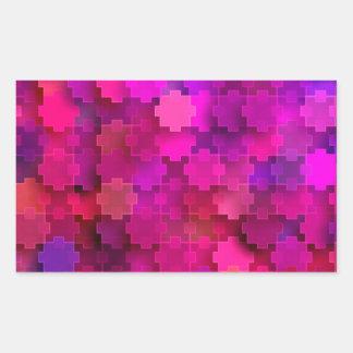Rosor och blått kvadrerar pusseldelarmönster rektangulärt klistermärke