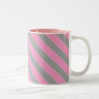 Rosor och grå färg görad randig kaffemugg Två-Tonad mugg