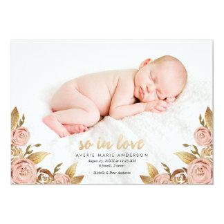 Rosor och guld- Painterly rosa födelsemeddelande 12,7 X 17,8 Cm Inbjudningskort