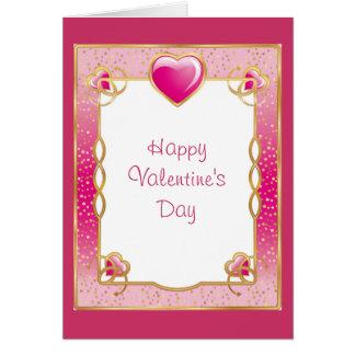 Rosor och guld- ram med hjärtor hälsningskort