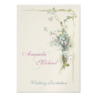 Rosor och slösar glömma-mig-nots bröllop 11,4 x 15,9 cm inbjudningskort