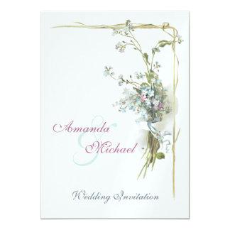 Rosor och slösar glömma-mig-nots bröllop 12,7 x 17,8 cm inbjudningskort