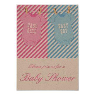 Rosor och twillingar för baby med 11,4 x 15,9 cm inbjudningskort