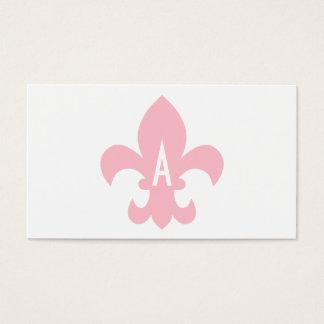 Rosor och Vit Fleur de Lis Monogram Visitkort