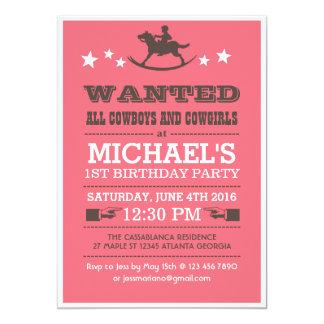 Rosor önskade western Cowboyfödelsedaginbjudan 12,7 X 17,8 Cm Inbjudningskort