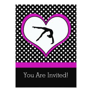 Rosor Polka-Pricker gymnastik med hjärta 14 X 19,5 Cm Inbjudningskort