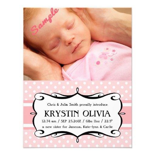 Rosor Polkadots för meddelande för nyfödd bebisfli Anpassade Tillkännagivande