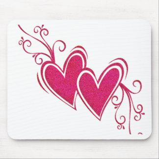 Rosor som flyter hjärtor musmattor