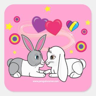 Ross och Curia: Förälskade kaniner Fyrkantigt Klistermärke