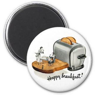 Rostat bröd 'lyckliga Breakfast för hötorgskonstvi Magnet