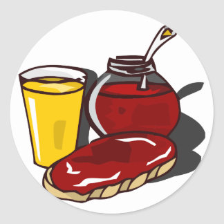 Rostat bröd, orange fruktsaft och sylt rund klistermärke