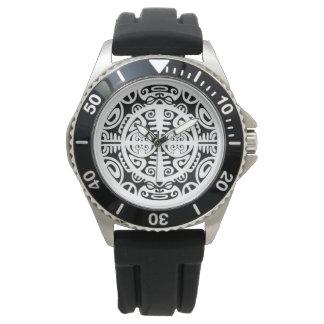Rostfritt stålklocka med Maori symbolansikte Armbandsur