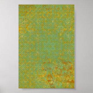 Rostig bakgrund för limefruktgröntmönster poster