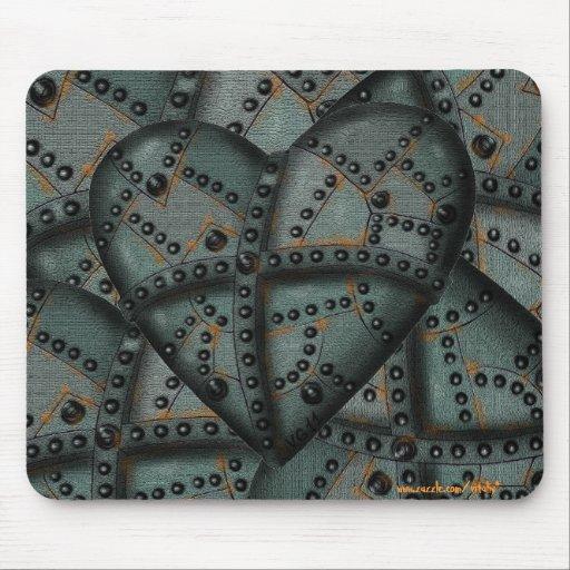 Rostig mousepad för coola för metallhjärtagrafik musmatta