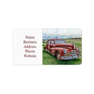 Rostigt för bil för vintage för adressetikett