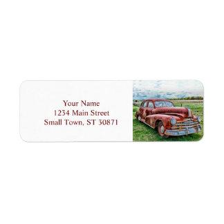 Rostigt för bil för vintage för returadress etikett