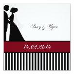 Rote Hochzeits-Paar-Hochzeits-Einladung Fyrkantigt 13,3 Cm Inbjudningskort